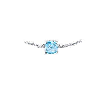 Silver bracelet with light blue topaz