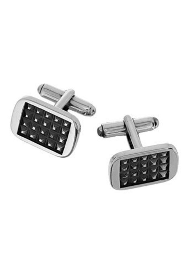 Silver Cufflinks rectangular polished& oxidised
