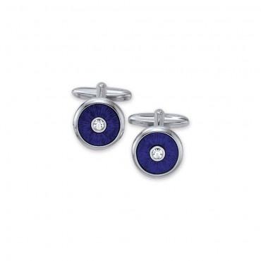 Zilveren manchetknopen fantasie blauw met zirconia