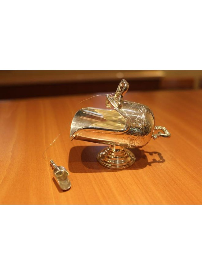 Silver sugar bowl with scoop