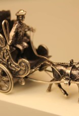 Silver miniature horse and carriage