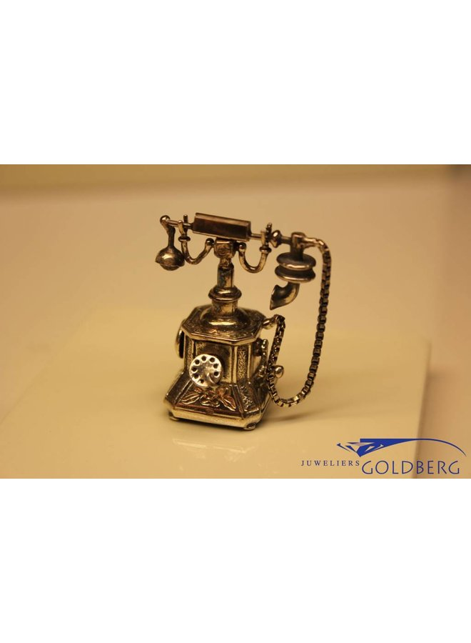 Silver antique phone miniature