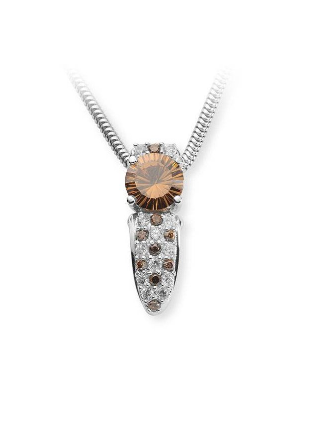 silver pendant with white and orange-brown zirconia's