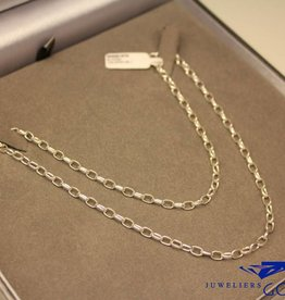 Zilveren jasseron collier ovaal