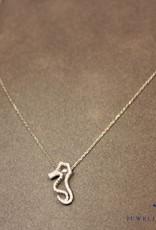 witgouden collier met zeepaardje 0.11ct diamant