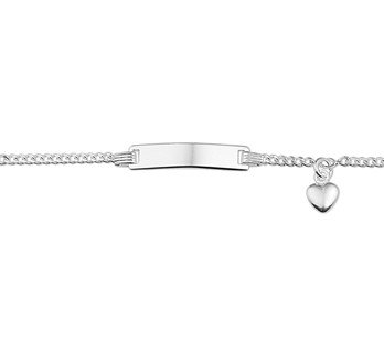 Silver baby bracelet with heart engravable 9-11cm
