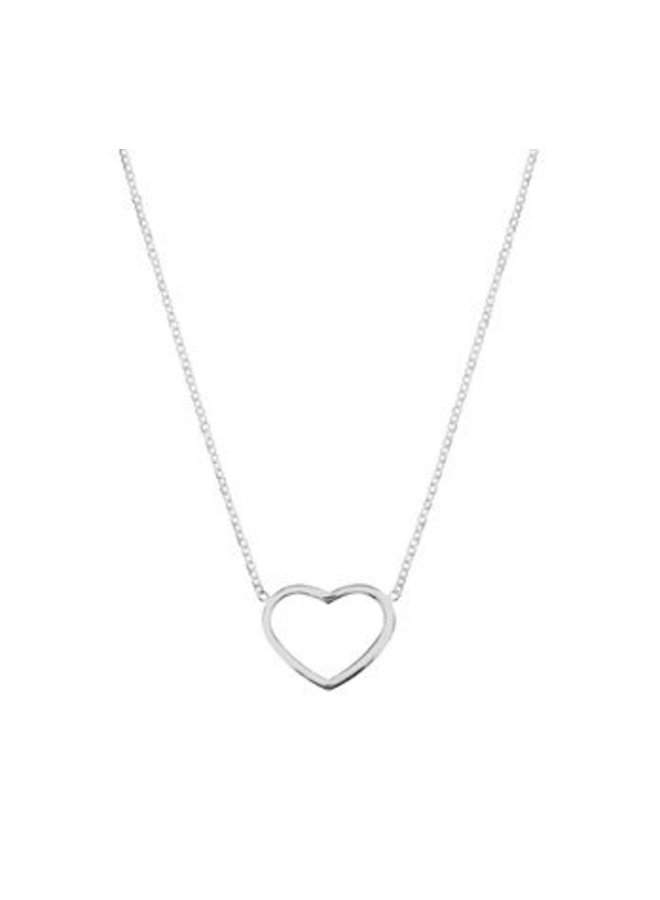 Silver necklace with thin heart
