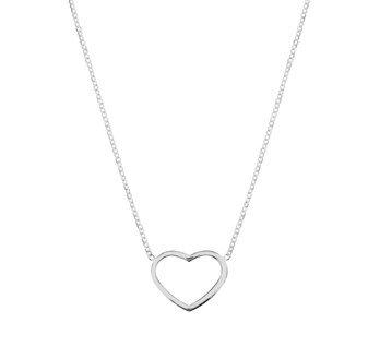 Fijn zilveren collier met hart