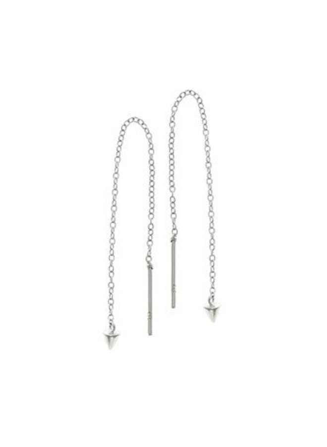 Silver pullthrough earrings with small cone