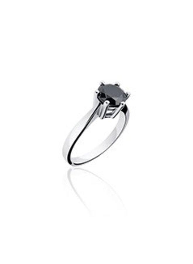 Zilveren solitair ring met zwarte zirconia 5mm