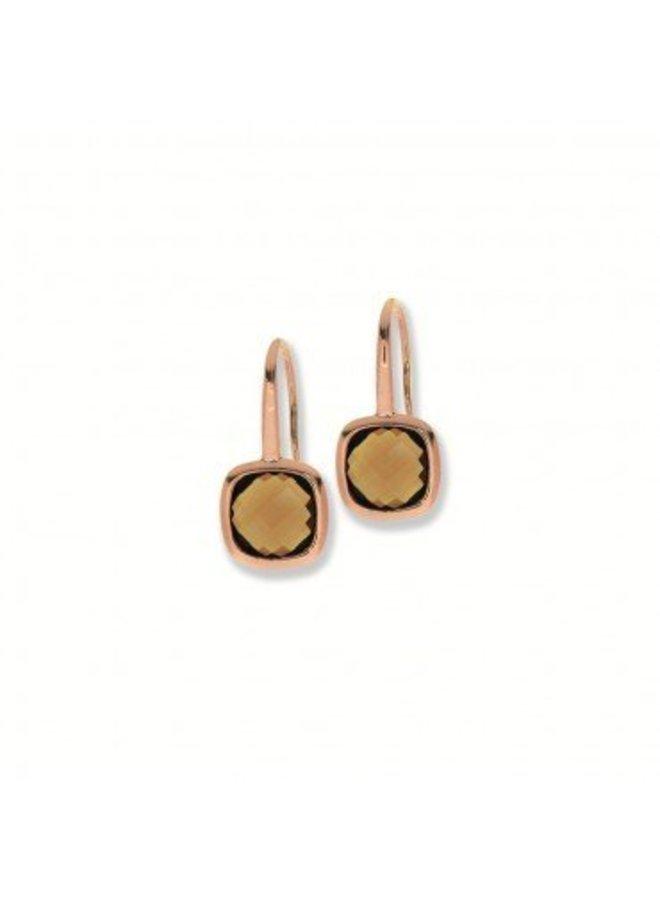 Zilveren oorhangers rosé rookkwarts