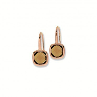 Silver rosé gold plated earrings with smoky quartz