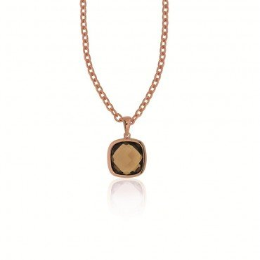 Silver rose gold plated pendant with smoky quartz