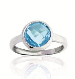 Silver ring set with round blue topaz