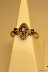 18 carat gold antique ring with rose cut diamond art deco style