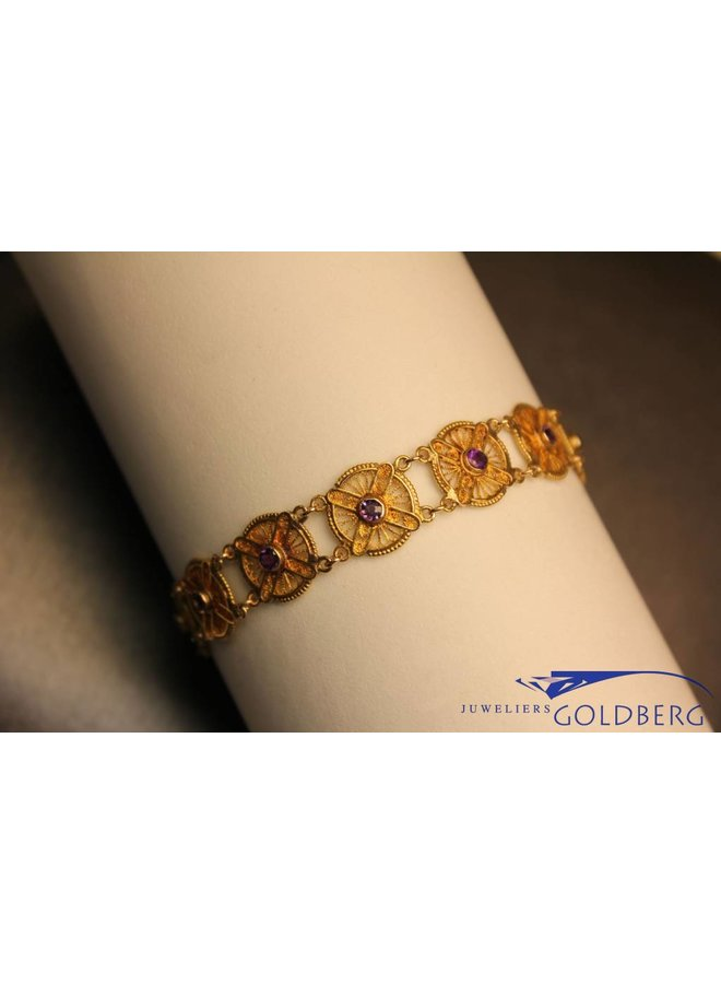 14 carat gold antique bracelet with amethyst Rotterdam 1880-1924