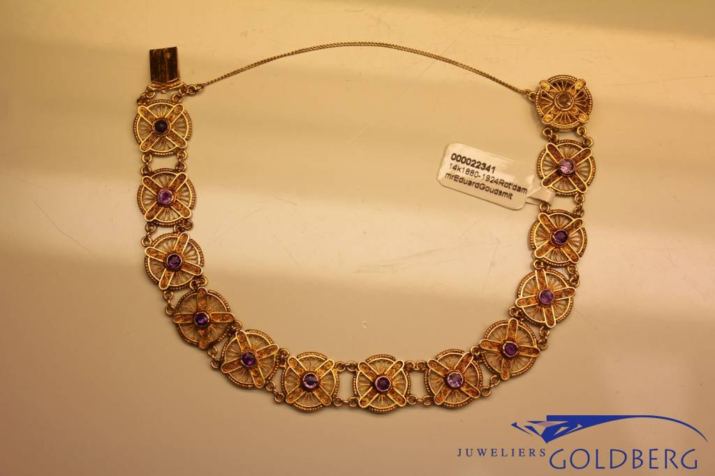 14 carat gold antique bracelet with amethyst Rotterdam 1880-1924