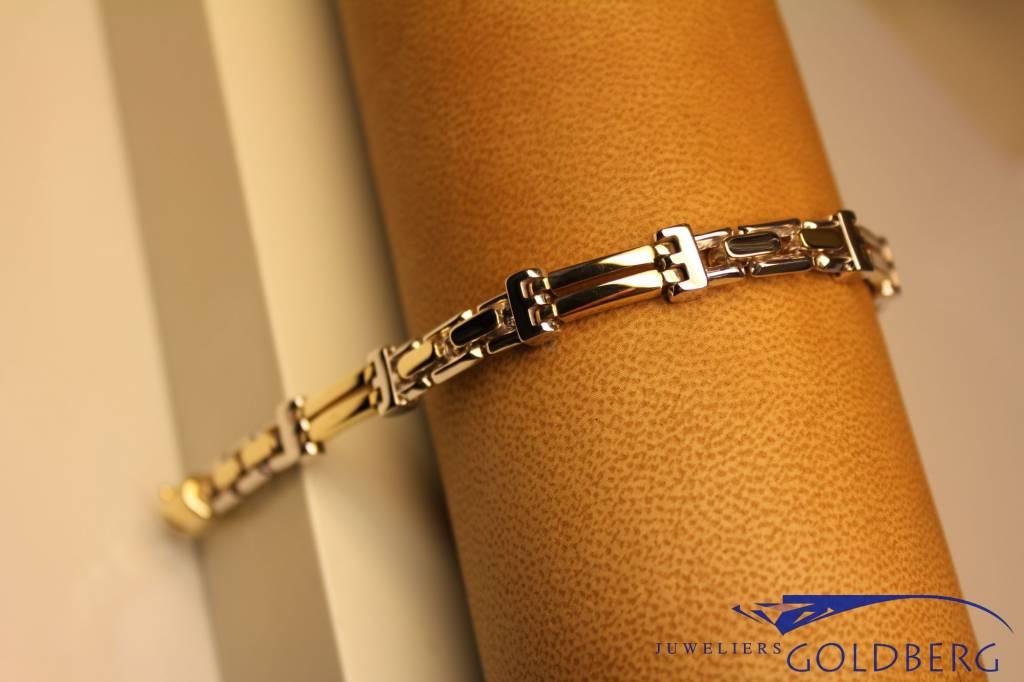 14k gouden heren armband bicolor