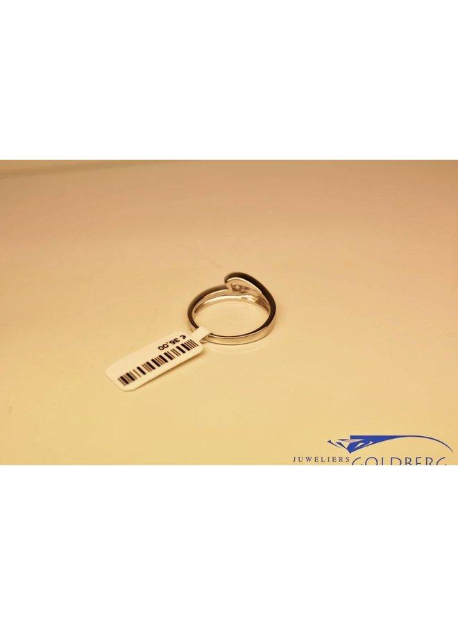 Zilveren fantasie solitair ring met zirconia