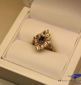 18k gouden art deco ring met saffier en diamant (Frankrijk)