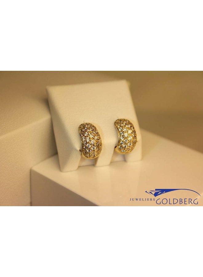14 carat yellow gold earrings with zirconia's
