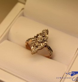 18k gouden art deco ring diamant