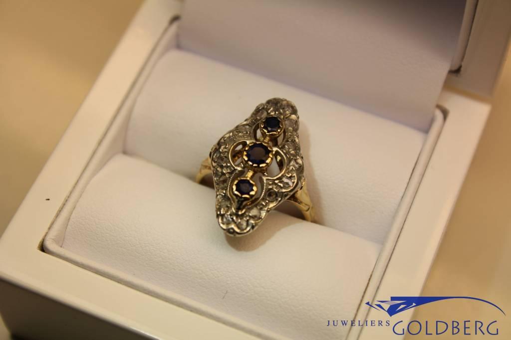 18k gouden ring met diamant en saffier