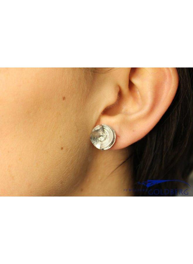 Cute silver flower earrings with zirconia, Sanjoya