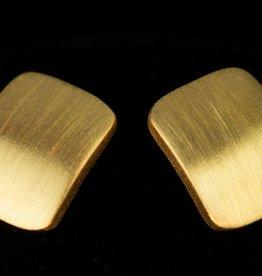 Sanjoya Vergulde zilveren matte vierkante oorbellen, Sanjoya