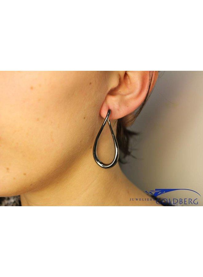 Silver, dark gray infinity earrings
