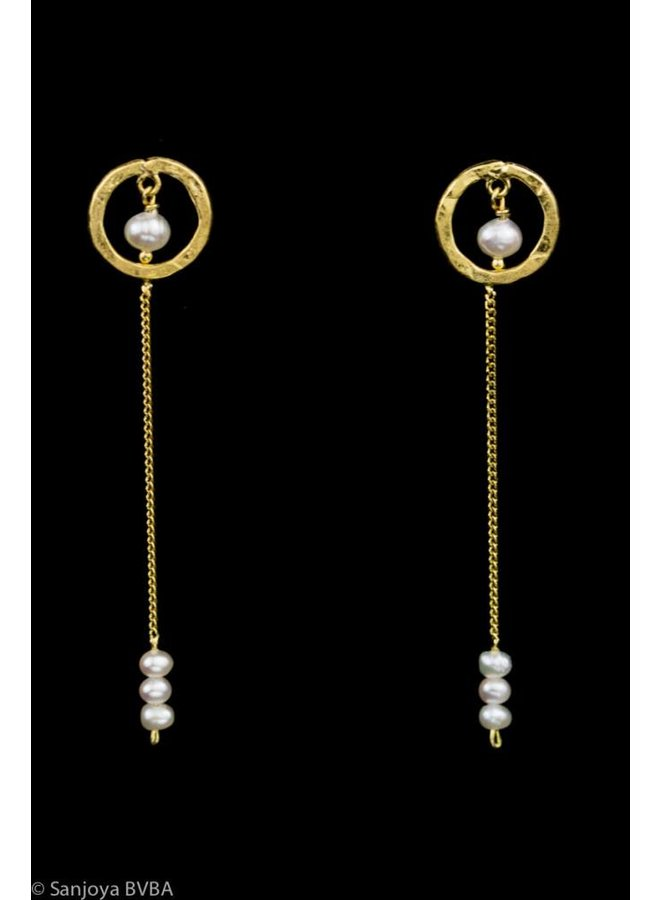 Long goldplated silver earrings with pearls