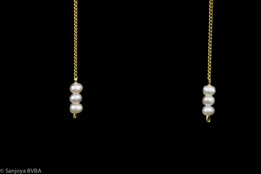 Sanjoya Long goldplated silver earrings with pearls