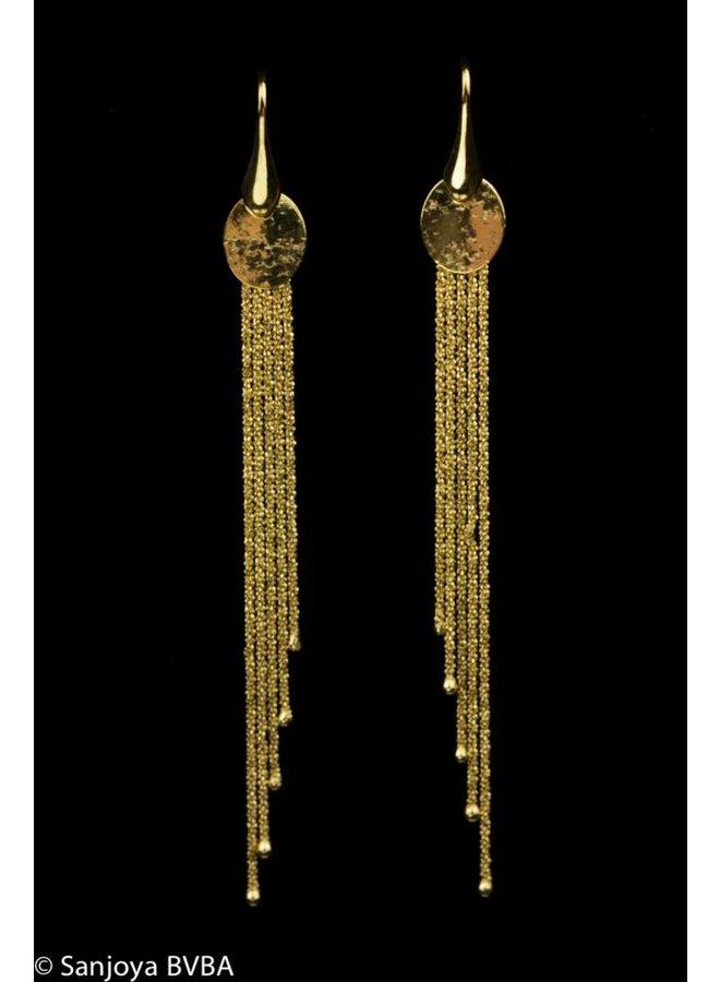 Lange vergulde zilveren oorbellen, Sanjoya