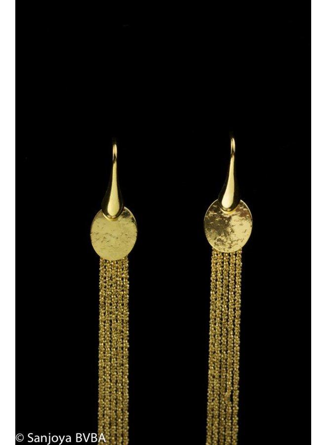 Stylish long goldplated silver earrings, Sanjoya