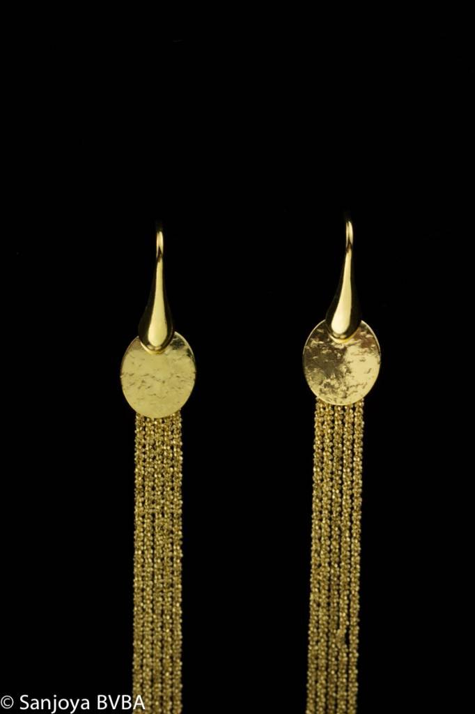 Sanjoya Lange vergulde zilveren oorbellen, Sanjoya