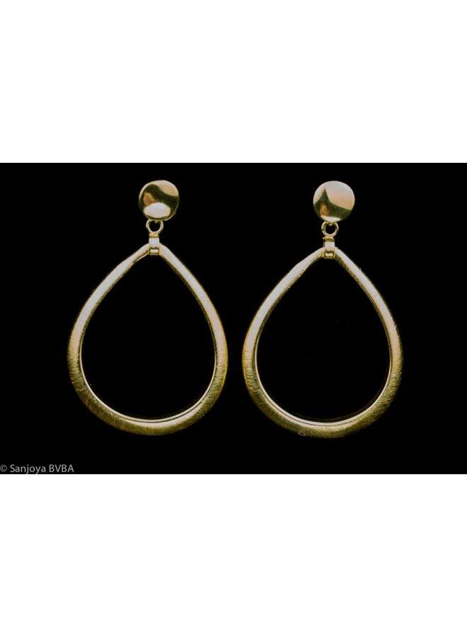 Large gold plated silver teardrop earrings, Sanjoya