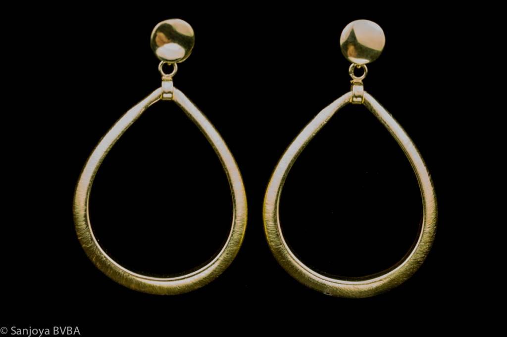 Sanjoya Large gold plated silver teardrop earrings, Sanjoya