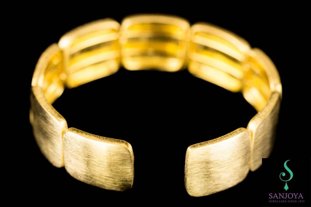 Sanjoya Vergulde zilveren armband met blokjes, Sanjoya