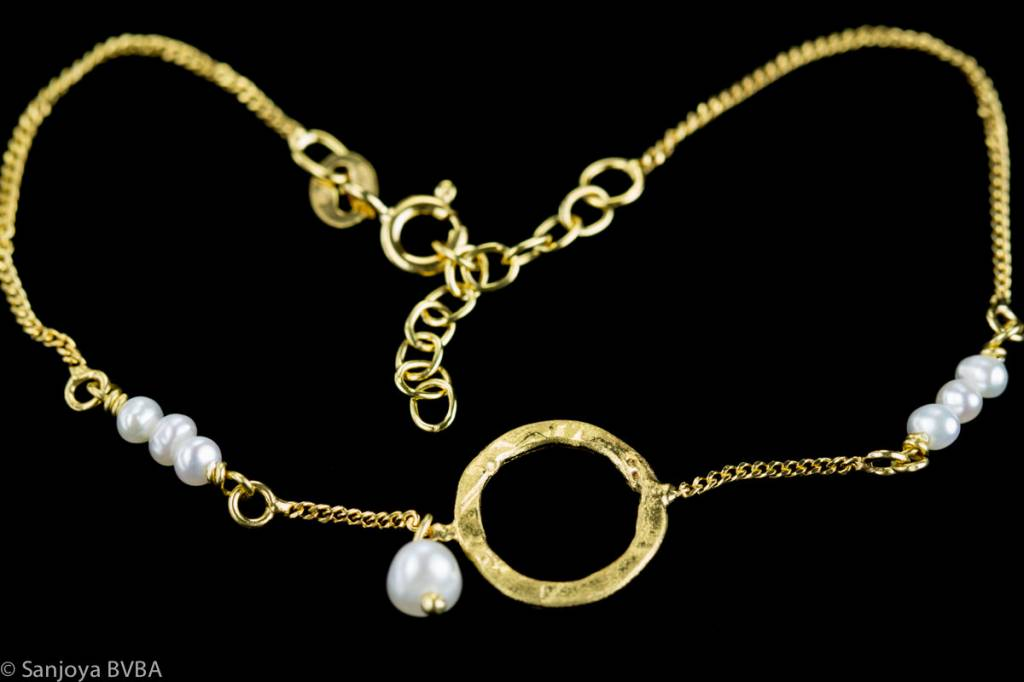 Sanjoya Gold-plated silver bracelet with pearls, Sanjoya