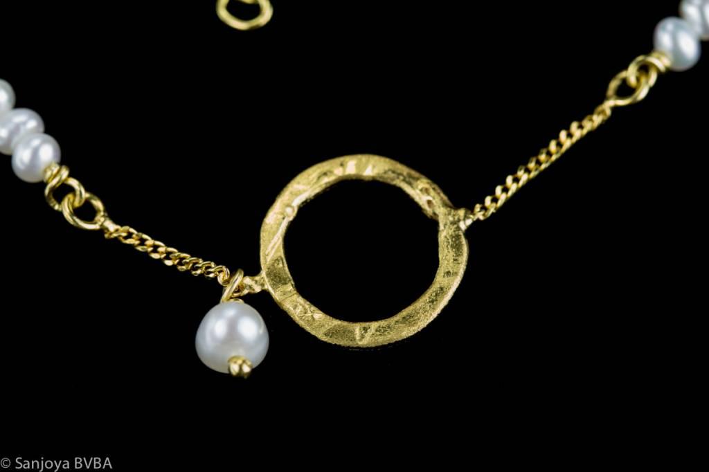 Sanjoya Verguld zilver armbandje met pareltjes, Sanjoya