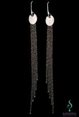 Sanjoya Lange zwarte zilveren oorbellen, Sanjoya