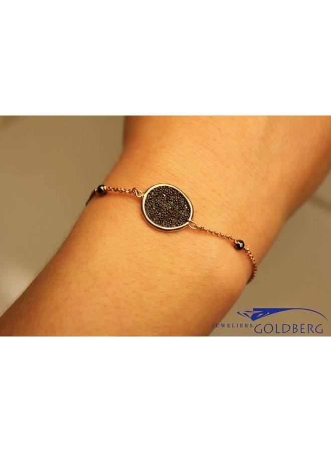 Rosé silver bracelet with hematite, Sanjoya