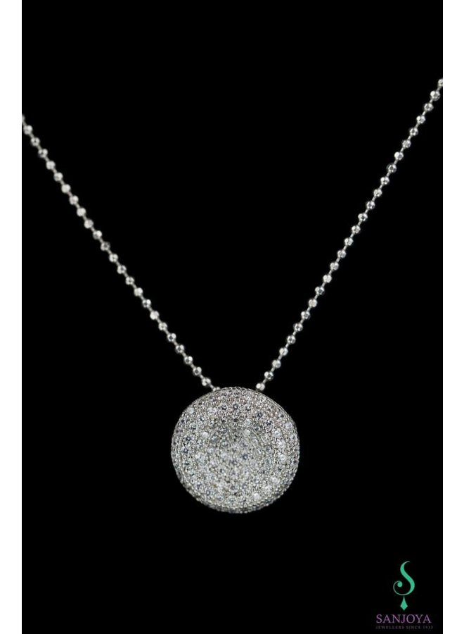 Elegant silver necklace with zirconia pendant, Sanjoya