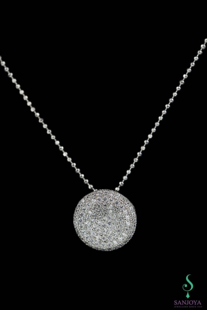 Sanjoya Zilveren ketting met zirconia hangertje
