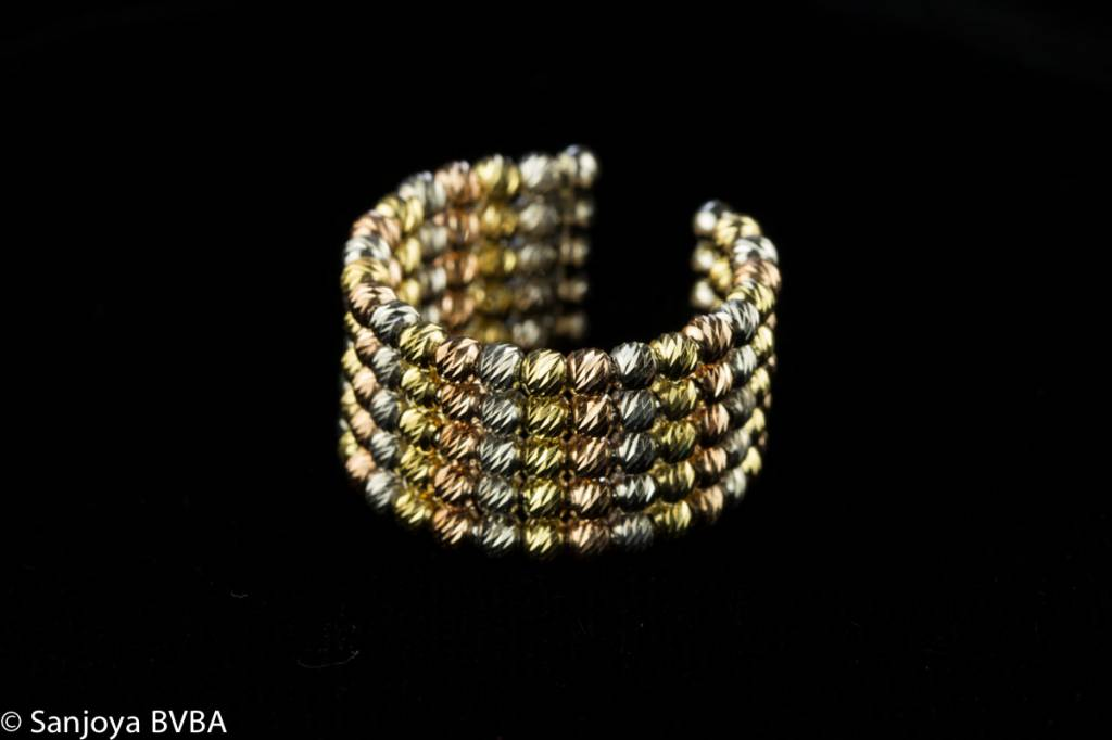 Sanjoya Italiaanse zilveren ring, 5 rijen driekleurig, Sanjoya