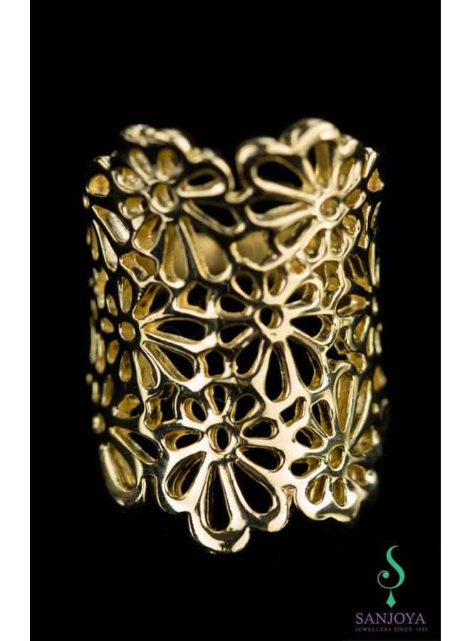 Wide open crafted gold plated silver ring