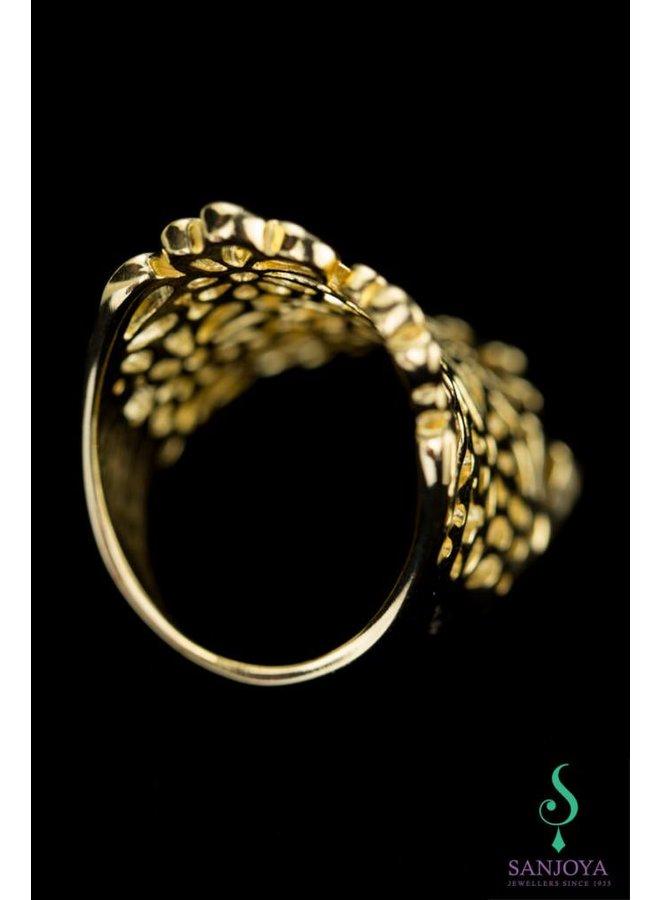Opengewerkte vergulde zilveren design ring, Sanjoya.