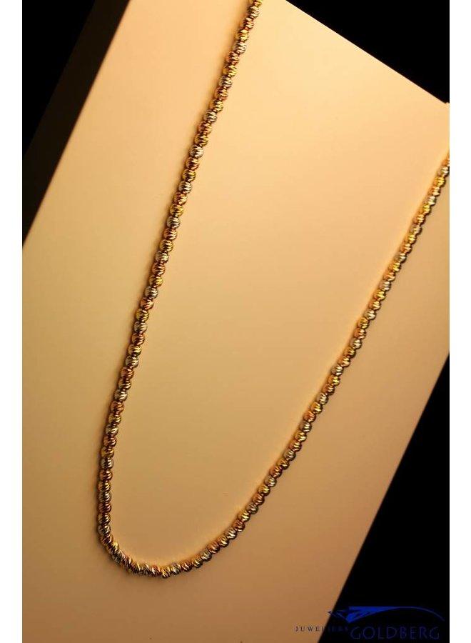Italiaanse ketting 3-kleurig zilver 80cm, Sanjoya