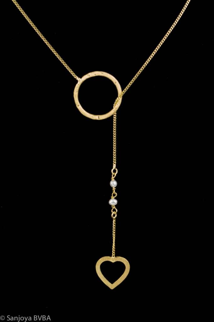 Sanjoya Fijne vergulde doorsteek ketting met cirkel en hart, Sanjoya