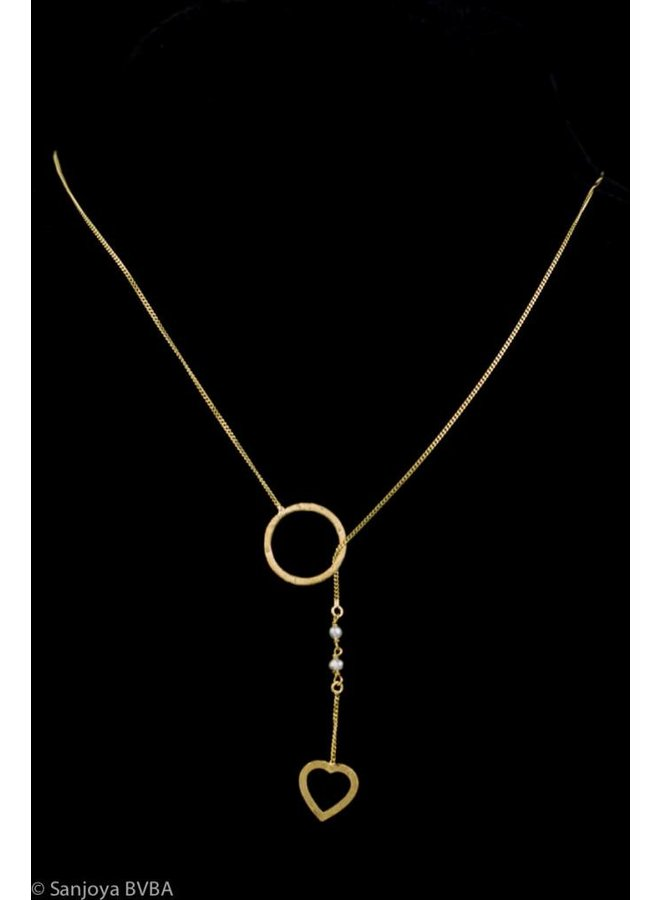 Fine gold plated silver pull-through necklace with pearls, Sanjoya